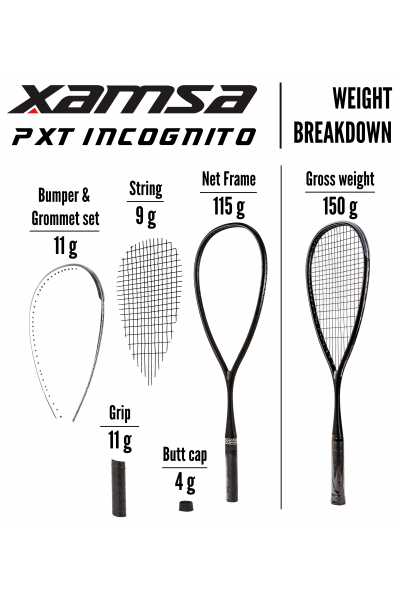 Xamsa PXT Incognito Squash Racquet  Weight Breakdown