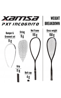 Xamsa PXT Incognito Squash Racquet  Weight Breakdown
